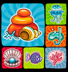Swirl vacation icon or sticker set tropical fish vector