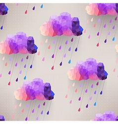 Retro cloud seamless pattern with rain symbol vector