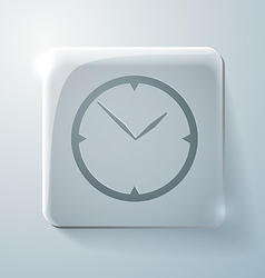 Glass square icon with highlights clock vector