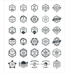 30 set of hexagon vintage hipster badge logo vector image
