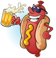 Hot dog cartoon with sunglasses and beer vector