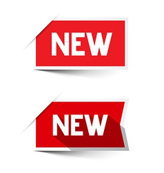 New red paper labels - stickers set vector