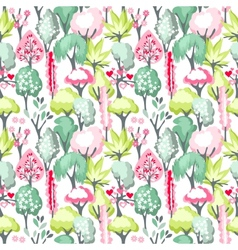 Seamless pattern with blossoming trees vector image