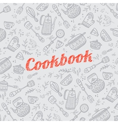 Cookbook with kitchen items gray vector