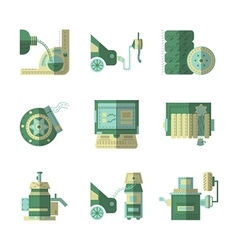 Flat color icons for car service vector image