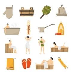 Bath sauna spa flat icons set vector