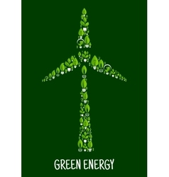 Green energy symbol with wind turbine silhouette vector