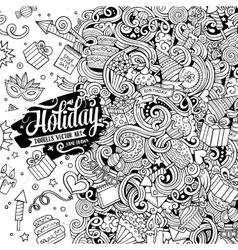 Cartoon hand-drawn doodles holidays vector