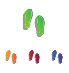 Imprint soles shoes sign colorfull applique icons vector