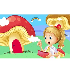 A girl holding a wallet near the giant mushroom vector image vector image