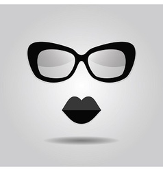 abstract hipster lady sunglasses and lips icon vector image vector image