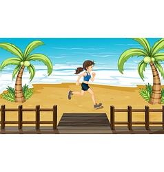 An athlete jogging at the seashore vector image
