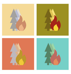 Assembly flat icons nature forest fire vector
