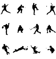 Baseball Black Silhouette vector image vector image