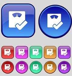 Bathroom scales icon sign a set of twelve vintage vector