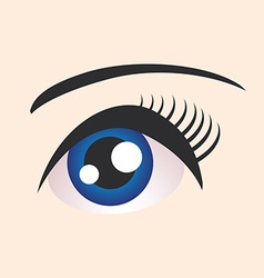 Beautiful blue female eye on beige background vector image