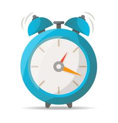 Blue alarm clock with bells icon vector