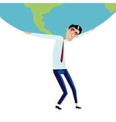 Businessman holding big globe overhead vector image