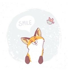 cute fox smile vector image vector image