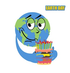 Earth day planet earth and cake holiday big cake vector