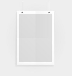 Empty white a4 sized paper mockup hanging with vector