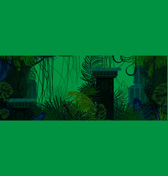 Exotic woods green wild nature background vector