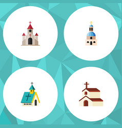 Flat icon church set of church traditional vector