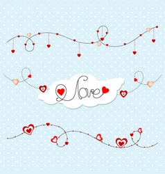 Gentle blue background with hearts valentines day vector