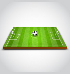 Green football or soccer field with ball vector