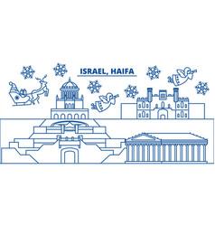 Israel haifa winter city skyline merry christmas vector