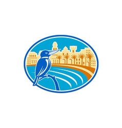 Kingfisher mediterranean coast oval retro vector