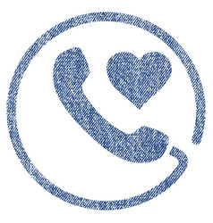Love phone fabric textured icon vector