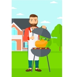 Man preparing barbecue vector