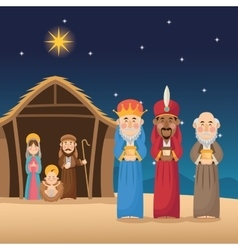Mary joseph jesus and wise men design vector