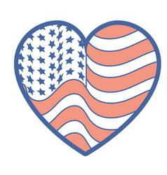 nice heart with usa flag inside vector image vector image