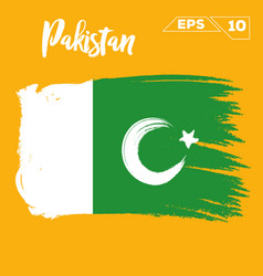 Pakistan flag brush strokes painted vector