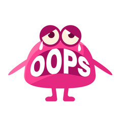 pink blob saying oops cute emoji character with vector image vector image