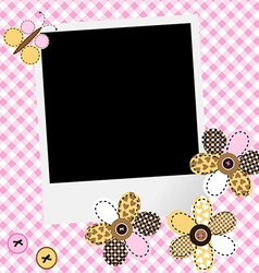 Scarpbook baby girl design with photo frame and vector image