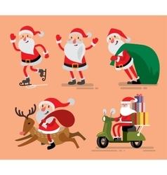 Set of santa claus and deer vector