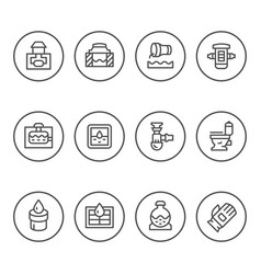 Set round line icons of sewerage vector