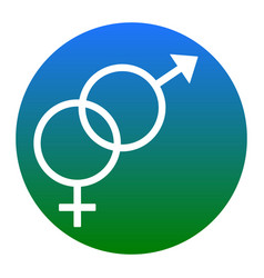 sex symbol sign white icon in bluish vector image