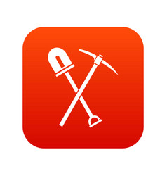 Shovel and pickaxe icon digital red vector