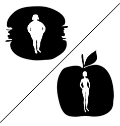 Silhouette of fat and slim women vector