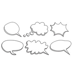 Speech bubbles icon set hand drawn on white vector