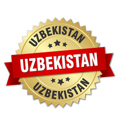 Uzbekistan round golden badge with red ribbon vector