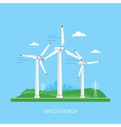 Wind power plant and factory Turbines Green vector image