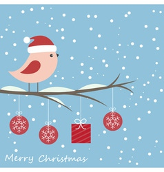 Winter card with cute bird vector image
