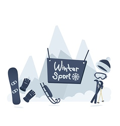Winter sport poster design vector image