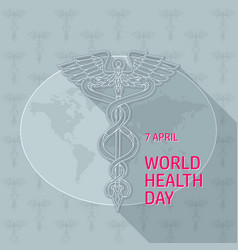 world health day caduceus on vector image