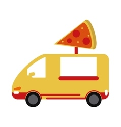 Yellow pizza delivery truck fast food vector